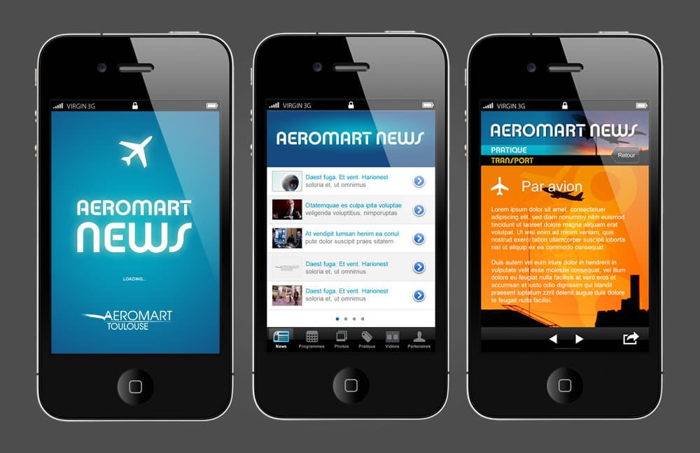 Stéphane Razat Web designer Toulouse : App Design - Aeromart
